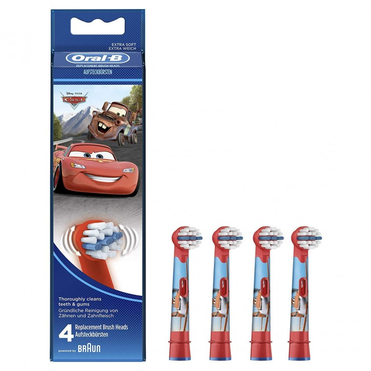 4 Oral B Cars Stages Power Kids Aufsteckbürsten Original Ersatz Bürsten