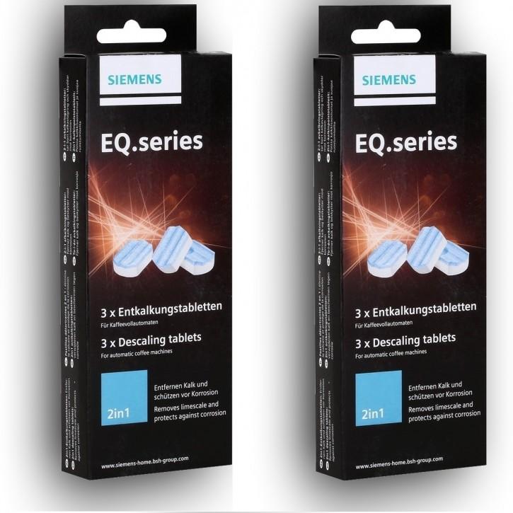 6 Siemens EQ.series TZ80002 Entkalkungstabletten 2in1 für Kaffeevollautomaten, Entkalker Tabs   (6a36)