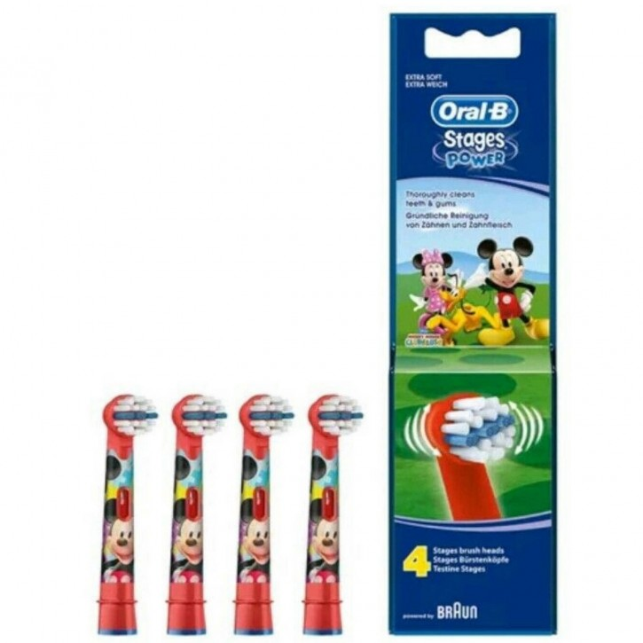 4 Oral B Mickey Mouse Stages Power Kids Aufsteckbürsten Original Ersatz Bürsten