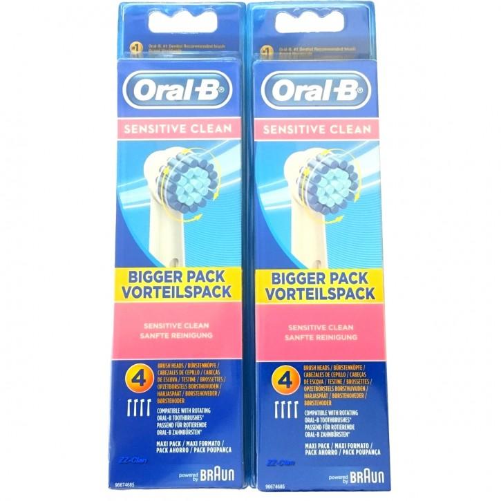 8 Oral B Sensitive Clean Aufsteckbürsten Original Ersatz Bürsten