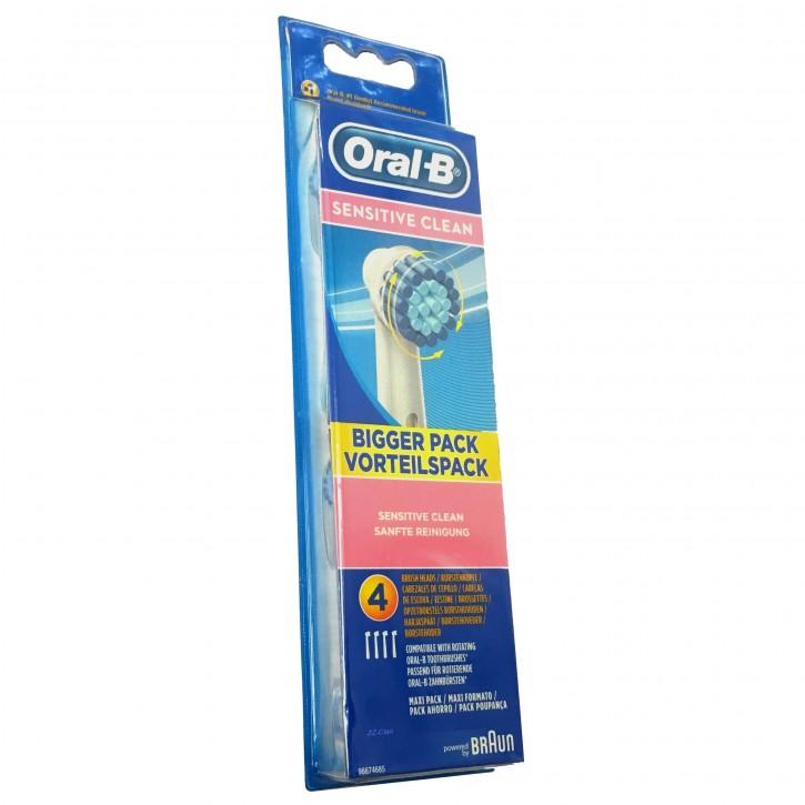 4 Oral B Sensitive Clean Aufsteckbürsten Original Ersatz Bürsten
