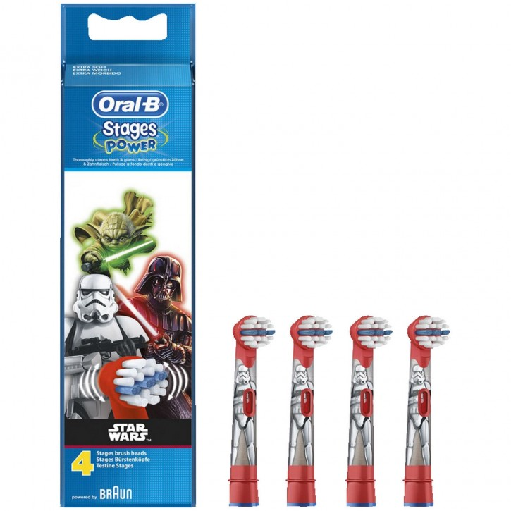 4 Oral B Star Wars Stages Power Kids Aufsteckbürsten Original Ersatz Bürsten
